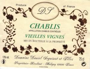 etiquete de vin chablis vieilles vignes domaine Daniel Seguinot et filles