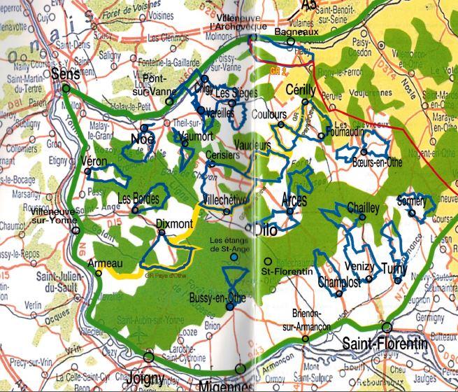 carte des 24 randonnées du pays d'othe